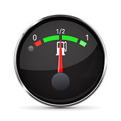 Car engine temperature black gauge. Normal. With metal frame. Vector 3d illustration isolated on white background