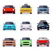 Car flat vector icons in front view. Car transport, auto car, vehicle car speed illustration
