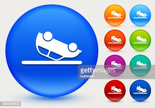 Car Flipped Upside Down Icon on Shiny Color Circle Buttons : Vector Art