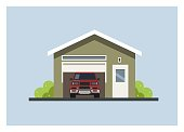 simple illustration of a car garage with two doors