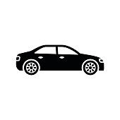 Car icon. Black, minimalist icon isolated on white background. Car simple silhouette. Web site page and mobile app design vector element.