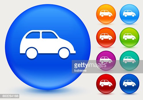 Car Icon on Shiny Color Circle Buttons : Vectorkunst