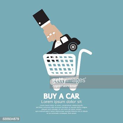Car In Shopping Cart Buy a Car Concept : Vector Art