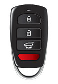 Car key with remote control isolated over white background