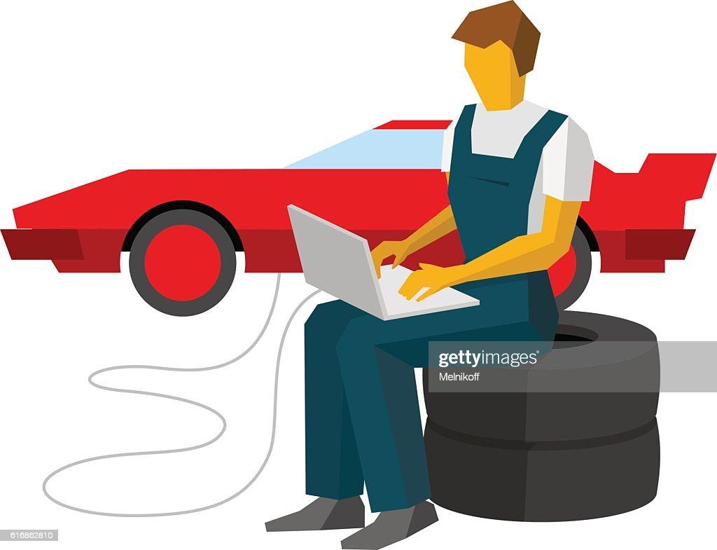 Car mechanic adjusts sportcar with laptop. Service station worke : Vector Art