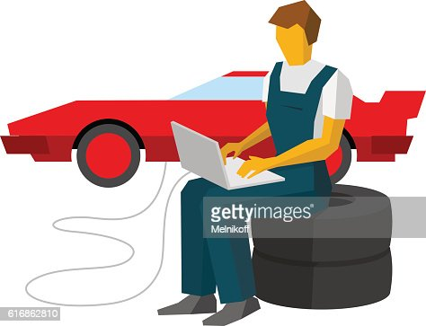 Car mechanic adjusts sportcar with laptop. Service station worke : Vector Art