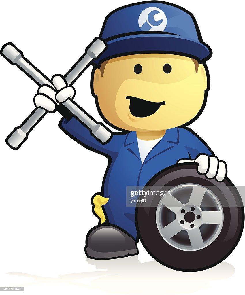 Car Mechanic - Tyre Change : Vector Art