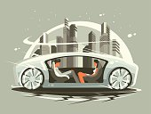 Car future with comfortable lounge for communication people. Vector illustration