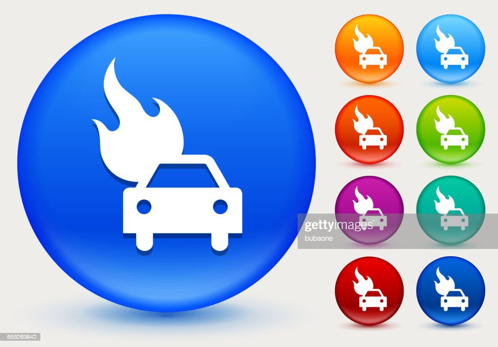 Car on Fire Icon on Shiny Color Circle Buttons : Vector Art