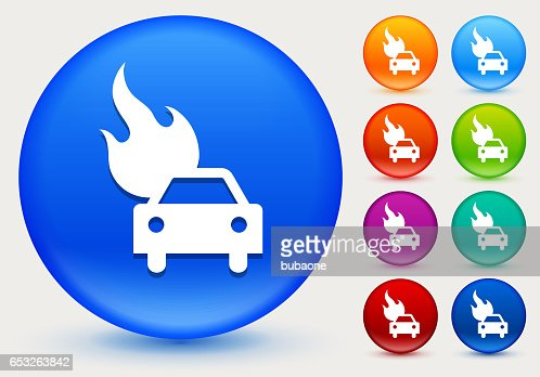 Car on Fire Icon on Shiny Color Circle Buttons : Vektorgrafik
