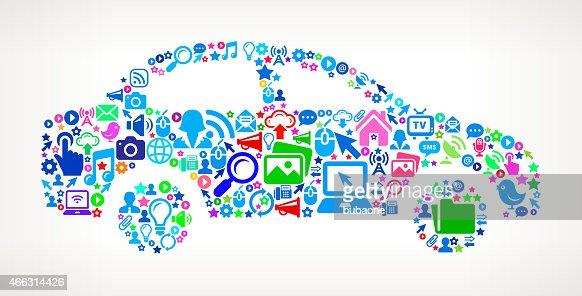 Car on Modern Technology & Communication interface icon Pattern : Vector Art