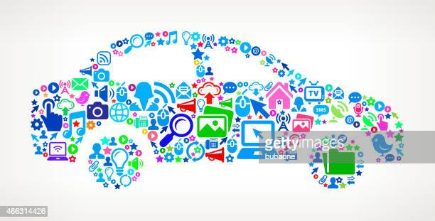 Car on Modern Technology & Communication interface icon Pattern
