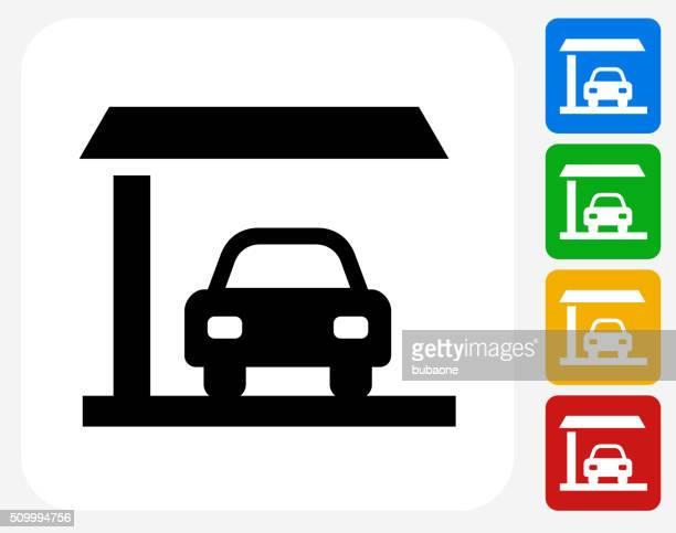 Que estacione en el estacionamiento de automóviles de diseño gráfico de iconos planos
