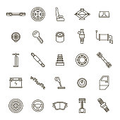 Car Parts Black Thin Line Icon Set for Web and App Include of Battery, Wheel, Key and Piston. Vector illustration of Part Auto