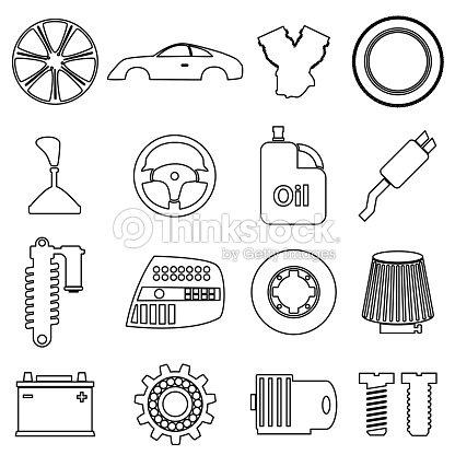 Car Parts Store Simple Black Outline Icons Set Eps10 Vector Art ...