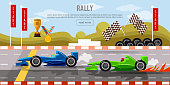 Car racing banner, motor racing cars on a start line, racing bolides, formula car speeding, racing in cars, tyre drift on race circuit finish line  vector