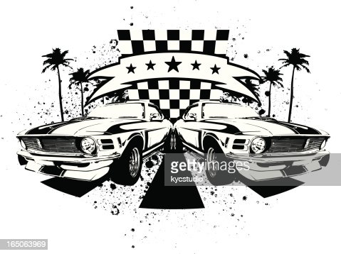Car Racing Emblem Muscle Cars Vector Art Getty Images