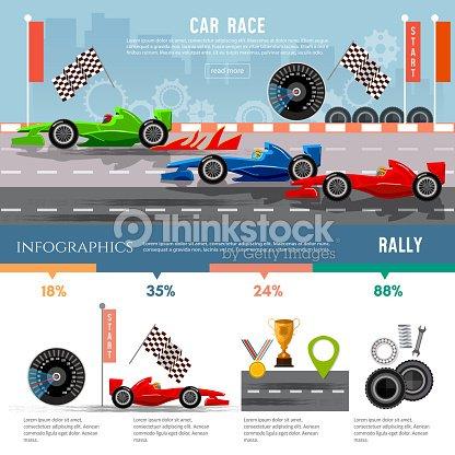 Car Racing Infographic Auto Sport Championship Symbols Vector Art