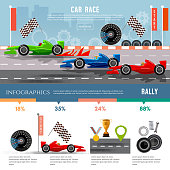 Car racing infographic, auto sport championship symbols and charts, motor racing cars on a start line