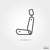 car seat vector icon. Automotive parts, repair and service symbol.
