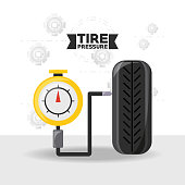 Tire pressure of car service and machine repair theme Vector illustration