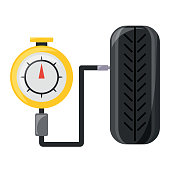 tire gauge measuring the tire pressure over white background colorful design vector illustration