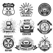 Vector set of vintage car service s, emblems, badges, symbols, icons isolated on white background. Typography design for auto repair, car wash business and print.