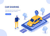Car sharing concept. Can use for web banner, infographics, hero images. Flat isometric vector illustration isolated on white background.