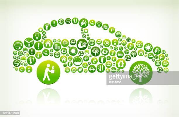 Lado de conservación medioambiental botón verde Vector patrón.