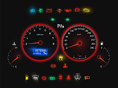 Car speedometer, modern auto panel realistic view. Speed meter, gauge measures and displays speed of a vehicle. Vector illustration on black background