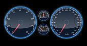 Car speedometer panel. View at night on the panel. Futuristic Speedometer dor Infographic and designe. Vector illustraton