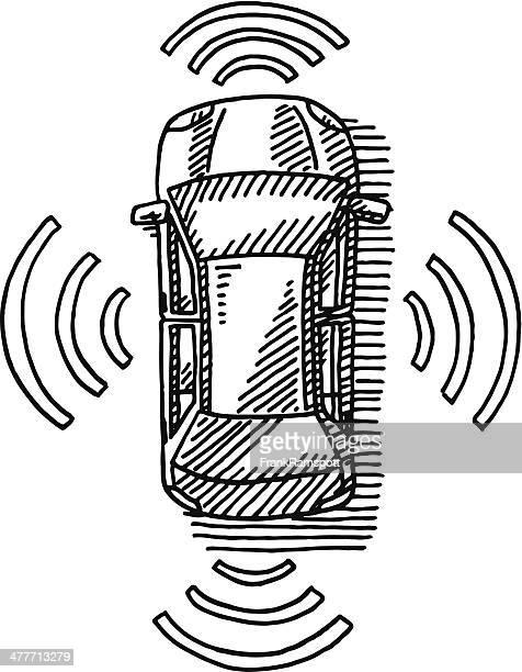 Car Top View Sensor Technology Drawing