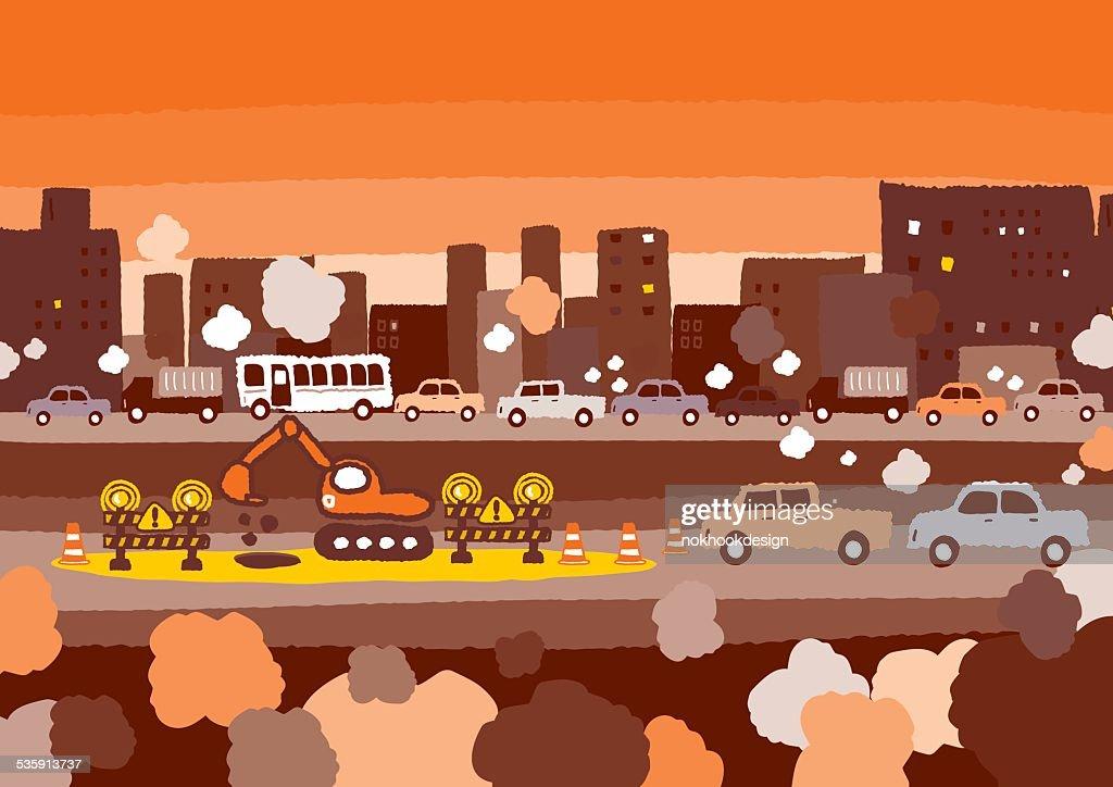 Car traffic jam : Vector Art