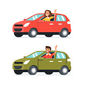 Happy man and woman  drive their cars.  Flat style vector illustration isolated on white background.