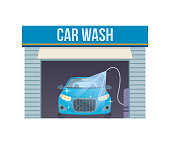 Car wash concept. Car washing service center full and self service facilities. symbol car. Assistance in maintenance, cleaning, renovation, service building on streets of city. Vector illustration.
