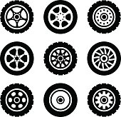 Car wheels icons set. Vector illustration. Isolated on white background.