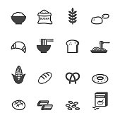carbohydrate food icons, mono vector symbols