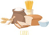 Foods high in carbohydrate, isolated on white. Carbohydrate food bread diet meal healthy and rice loaf white carbohydrate food. Bakery fresh eating carbohydrate food ingredient dry spaghetti food.