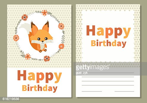 Card for birthday with cute squirrel : Vector Art