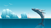 Card template with whale jumping under the blue ocean surface near icebergs. Winter arctic vector illustration