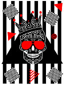 Card wih king skull icon and sunglasses, black and white stripes and red triangles