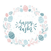 Round card with blue and pink Easter eggs and floral elements. Lettering Happy Easter isolated on white background, illustration.