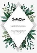 Vector illustration invitation card template with branches and leaf decoration