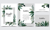 Vector illustration invitation card template with branches and leaf decoration. Set of greeting cards