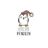 Card with cute cartoon penguin. Vecor doodle image.
