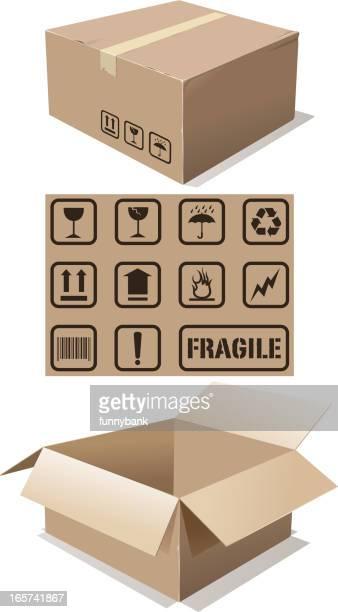 cardboard box and icons