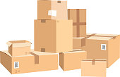 Cardboard boxes in different sizes. Packages isolated on white. Box package carton, container object for delivery and distribution illustration