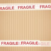 "Cardboard with tape ""Fragile"" vector illustration"