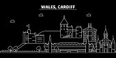 Cardiff silhouette skyline. Wales - Cardiff vector city, welsh linear architecture, buildings. Cardiff line travel illustration, landmarks. Wales flat icon, welsh outline design banner