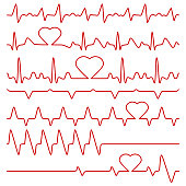 Cardiogram and pulse vector symbols with heart shape. Medical cardiogram, illustration of red line frequency cardiogram